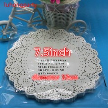 "100Pcs 7.5"" White Round Lace Paper Doilies Doyleys,Vintage Coasters Placemat Craft Wedding Table Decoration(China)"