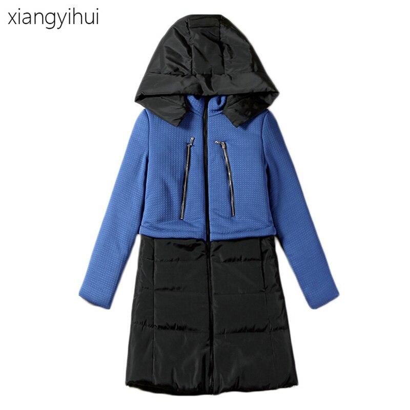 Long Sleeve Blue White Patchwork Hooded Parka 2017 Winter New Fashion Thicken Outwear Down Jacket for Women Female Warm ParkaÎäåæäà è àêñåññóàðû<br><br>