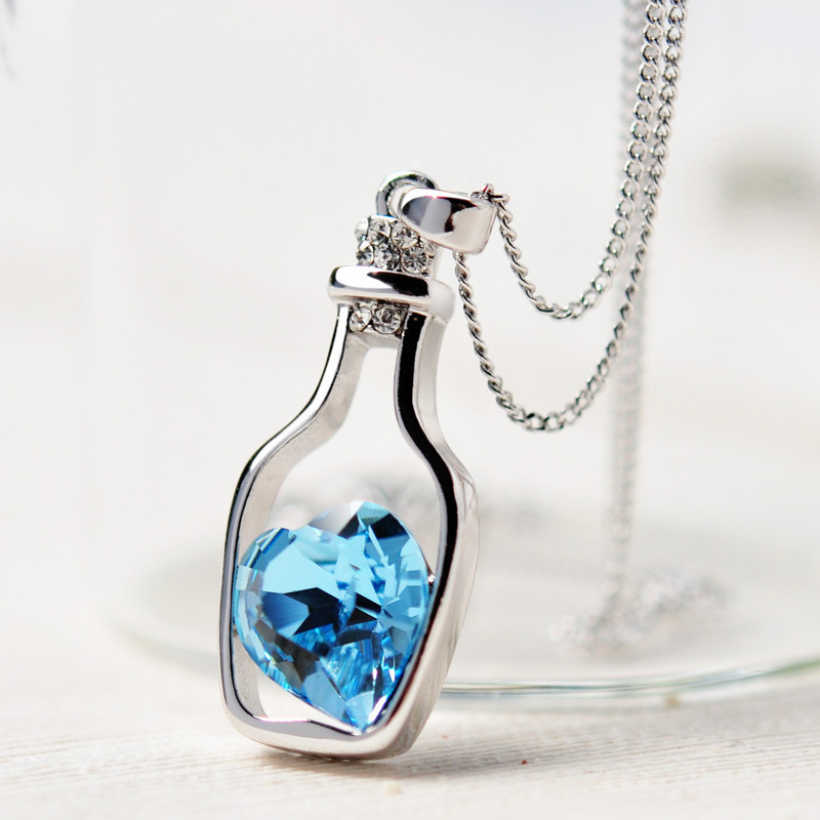 2018 Crystal Heart Pendant Necklace Women Jewelry Hollow Bottle Necklaces  Charms Chain Choker Vintage Gift Silver