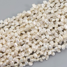 5 Strands/Pack White Freshwater Keshi Pearl Strands 7-10mm Baroque White Reborn Keshi Pearls for DIY Jewelry Making LPS0008(China)
