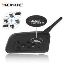Wireless Bluetooth Motorcycle Intercom Headphone VENTPHONE V4 1200 BT Multi Interphone Helmet Headset Communicator 4 Riders Moto