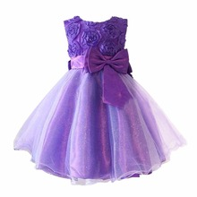 2017 New Sweet Children's Clothing Girls Dress For Baby Purple Pink Roses Clothes Chiffon Princess Dresses