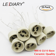 LEDIARY 10PCS GU10 MR16 Lamp Base Ceramic Lamp Holder Socket with Wire Connector Halogen/LED Lamp Holder 12V/110V/220V Adapter(China)
