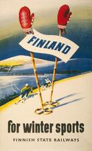 Ski Skiing Finland for Winter Sports Travel Tour Poster Vintage Retro Decorative DIY Wall Stickers Home Posters Art Bar Decor