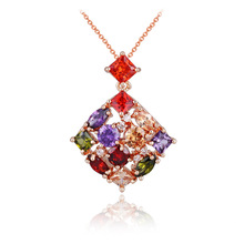J store Rose gold color Necklace Square Pendant Multi Color Cubic Zirconia Jewelry For Women mother Gift Party JJ10012(China)