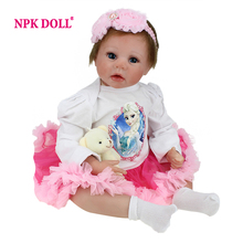 NPKDOLL 22 Inch 55 cm Reborn Baby Doll Realistic Real Looking Silicone Reborn Babies Doll Reborn Fashion Kids Brinquedos(China)