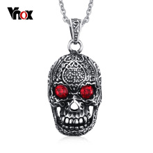 "Vnox Punk Men Necklace Stainless Steel Gothic Skull Pendant Necklace for Man with Red Cubic Zirconia Free 24"" Chain"