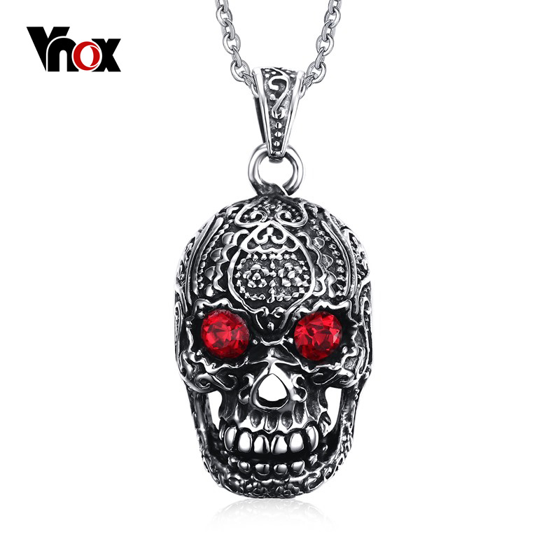 "Vnox Punk Men Necklace Stainless Steel Gothic Skull Pendant Necklace for Man with Red Cubic Zirconia Free 24"" Chain(China (Mainland))"