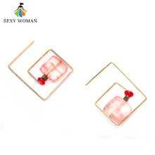 SEXY WOMAN Women Vintage Sweet Candy Pink Natural Stone Drop Earrings Antique Gold-color Suspension Earrings Square Jewelery(China)