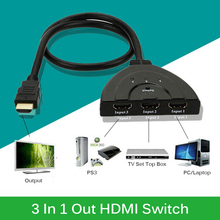 3 IN 1 Out HDMI Switch Splitter 3D 1080P HDMI Switcher Adapter Hub with Cable For HDTV PC DVD Laptop
