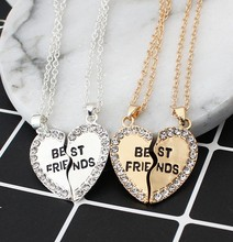 N401 2pcs/pair 2017 new fashion Best friend necklace women 2 in 1 gold silver heart statement pendant friendship jewelry as gift