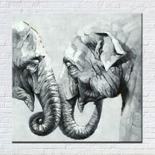 Black White Elephant Oil Painting Hand Painted Modern Animal Decorative Pictures On the Wall for Kid's Room Unframed Wall Art(China)