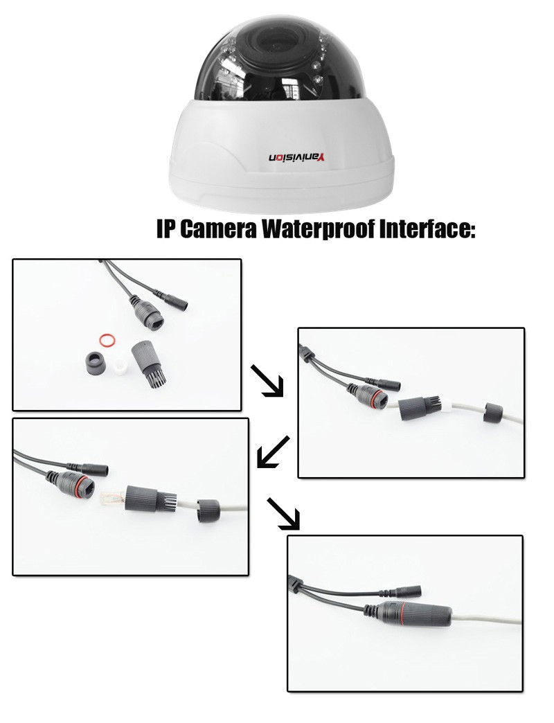 2.8-12mm Varifocal Lens Plastic IR Indoor IP Dome Motion Detection Night Vision 5MP 4MP 960P 1080P IP Camera H.265