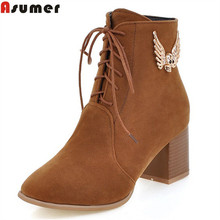 ASUMER autumn winter new arrive women boots black blue lace up zipper ankle boots flock square toe lady boots big size 33-43(China)
