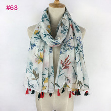 2017 large Soft Viscose Scarf with Tassels Floral Print for Women Bohemian Style Summer bufandas cachecol(China)
