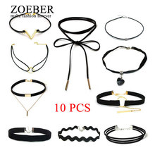 Zoeber 10 PCS/Set Jewelry Collier Leather Choker Necklaces Set for Women New Gothic Black Lace Necklace Chain Hollow Out