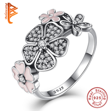 925 Sterling Silver Shimmering Bouquet,Pink Enamel&Clear CZ Cherry Blossom Daisy Flower Finger Rings for Women Wedding Gift(China)
