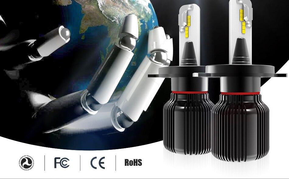 hlxg 2PCS 8000LM 40W Led H4 6000K bulbs CSP Chips  H7 Car Led H11 H8 9005 HB3 9006 HB4 12V 24V Auto headlights bulbs kit (2)