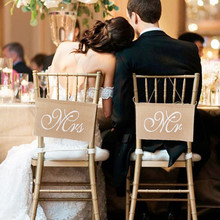 2pcs/set New Arrive Mr  Mrs Burlap Chair Banner Set Mark Sign Rustic Wedding Party Decorations Photography Signs YL602749