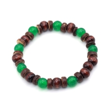 10 Colors 8MM wood and coconut beaded stretch upcycled beads natural materials earthy tribal Mens surfer bracelet(China)
