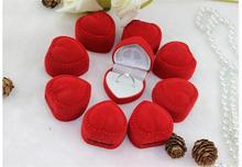 10Pcs Hot Romantic Elegant Simplicity Durable Lid Open Red Heart Shape Ring Boxes Velvet & Flock Gift Boxes Jewelry Supplies