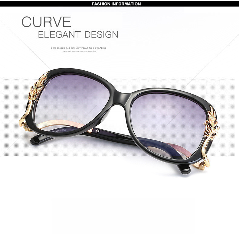 Women Polarized Sunglasses Retro Big Round PC Frame Brand Design Black Sun Glasses Luxury Ladies Driving gafas de sol mujer