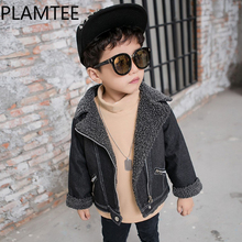 LAMTEE Winter Kids Coat Black Hairy Denim Jackets For Baby Boys Thick Vogue Pockets Childrens Overcoat 3-7Y Tassel Outerwear
