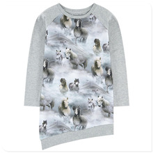 2018 Baby girl dress Long sleeve nice horses print Girls Clothes Girl clothing Casual new Fashion Children Kids dresses(China)