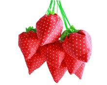 Large Strawberry Bag Colorful Retail Storage Organizer Fashion Resuable Nylon Foldable Grocery Bag Cute Tote(China)