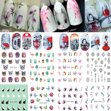 1 Sheet Water Nail Stickers Flower/Flamingo/Feather Nail Art Water Transfer Stickers Decals Tattoo Manicure Decor LASTZ501-512