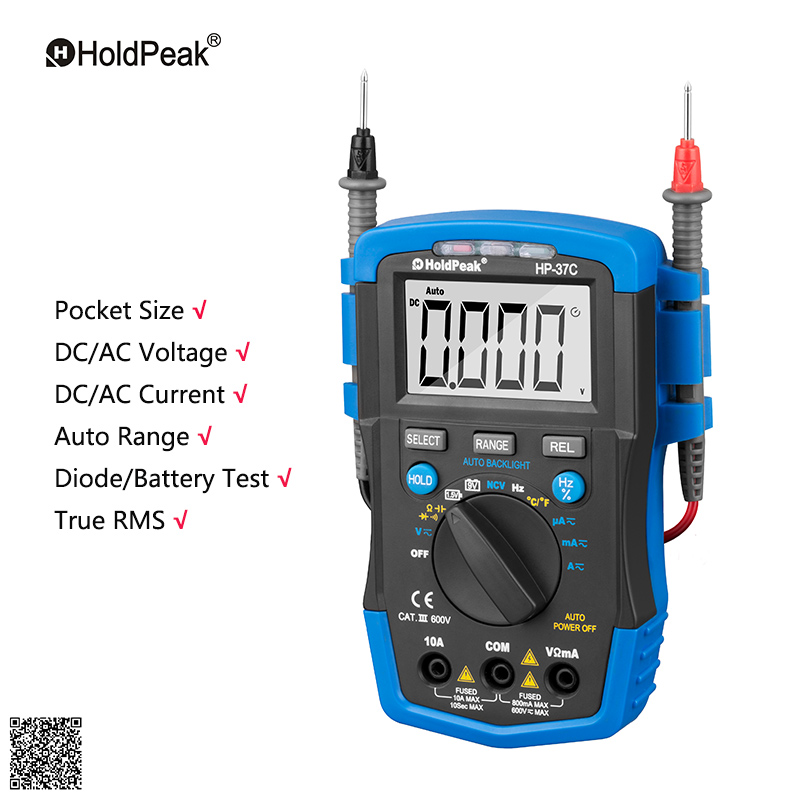 Auto Range Digital Multimeter Holdpeak hp-37C Handheld Pocket AVOmeter Volt Current Tester Multifunction With Temperature Meter<br>