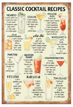Classic cocktail recipes! vintage metal signs tin plate wall decoration for bar cafe garage