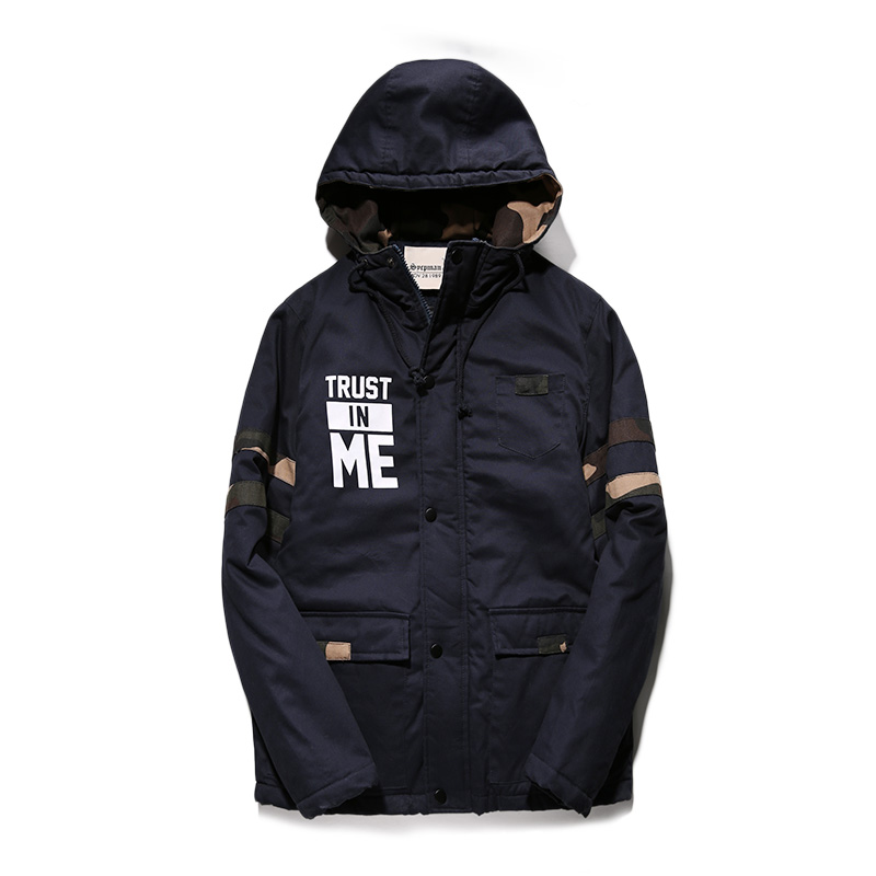 Size M-XXL Royal Blue Letter Trust In Me Print Cotton Men Fashion Long Down Parkas Winter Thick Mens Jackets and Coats HoodedОдежда и ак�е��уары<br><br><br>Aliexpress