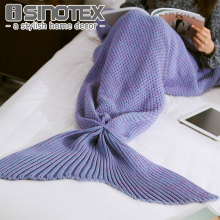 90*170cm/35*67'' Mermaid Tail Blanket Yarn Knitted Handmade Crochet Mermaid Blanket Throw Bed Wrap Super Soft Sleeping(China)