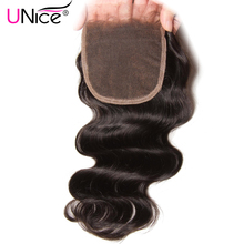 "UNICE HAIR Brazilian Body Wave Closure Free Part 100% Human Hair Lace Closure 10""-20"" Non-Remy Hair 120% Density Swiss Lace"