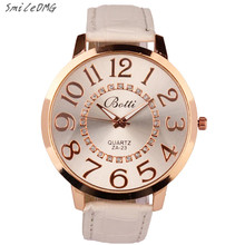 SmileOMG New Hot Marketing Womens Fashion Numerals Golden Dial Leather Analog Quartz Watch Free Shipping Christmas Gift,Sep 5(China)
