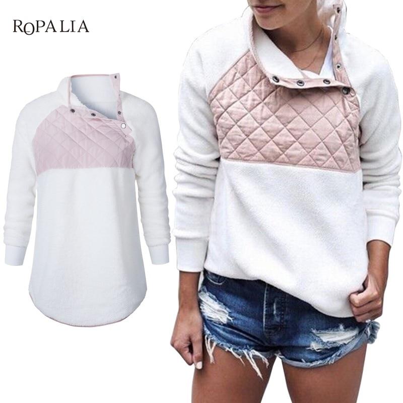 Women Fleece Sweatshirt High Neck Long Sleeve Warm Ladies Pullover Female Casual Loose Tops 9