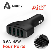Aukey 48W/9.6A 4 Port USB Car Charger Adapter with AIPower Tech Designed for Apple Android and Many other Powered Mobile Devices