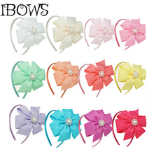 New Arrival Girls Pearl Pinwheel Hairbow Hairband Solid Grosgrain Ribbon Headband Hand made Children/Kids Hair Accessories(China)