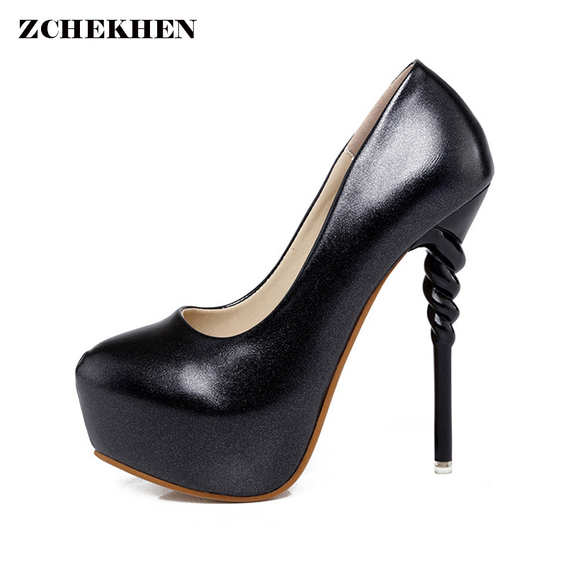 Fashion Helix Heel Design Women Pumps Platform Extreme High Heels Party Shoes Classic Nightclub Evening Party Shoes<br>