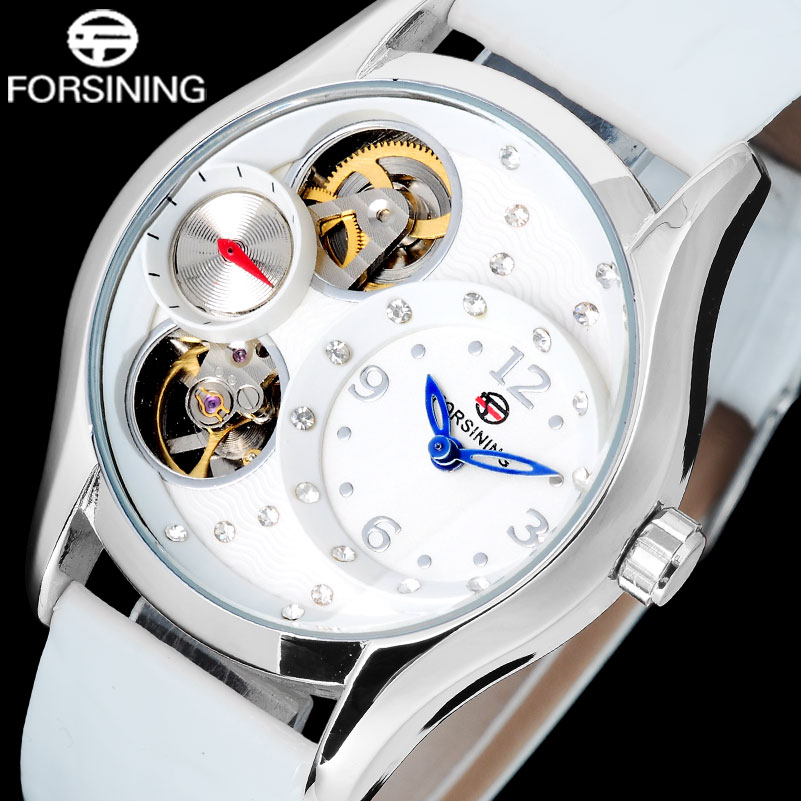 FORSINING 2017 china brand woman watches fashion Quartz skeleton Wristwatches white case blue point unisex watch leather strap<br>