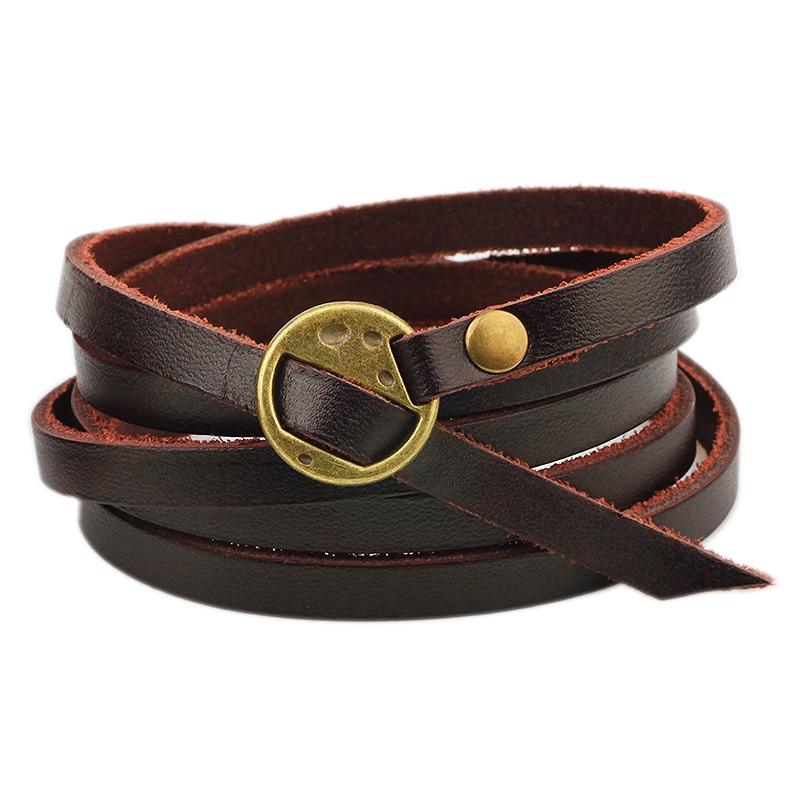 2018 Vintage Black Brown Leather Bracelet Genuine Hand Strap Bracelets Bangles Fashion Jewelry Men Women Accessories From Haoyunduo