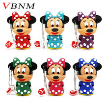 VBNM Cute Mickey Minnie mouse USB Flash Drive Pendrive 4GB 8GB 16GB USB Stick External Memory Storage Pen Drive 6 colors(China)