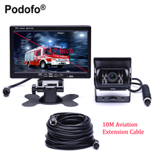 Podofo DC 12V-24V 7 inch TFT LCD Car Monitor Display + 4pin IR Night Vision Rear View Camera for Bus Houseboat Truck RV