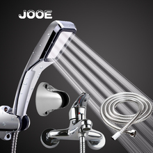 JOOE 1 Set 4 Pcs Thermostatic Bath Mixer Shower Faucet Water Saving Chrome Shower Head Stainless Hose Luxury Base Freight free