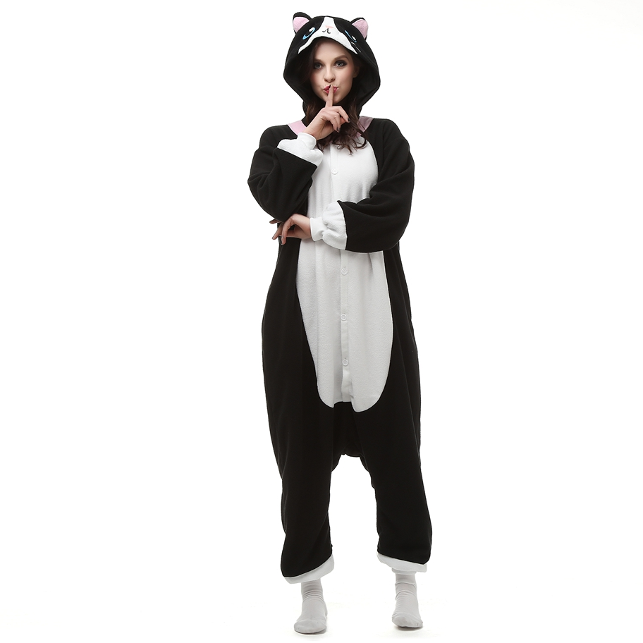 0540e0e95457 2019 Funny Fleece Kigurumi Black Cat Costume Cartoon One Piece ...
