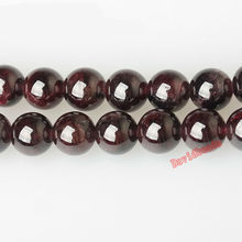 "Free Shipping Natural Stone Dark Red Garnet Round Loose Beads 16"" Strand 4 6 8 10 12 MM Pick Size For Jewelry Making"
