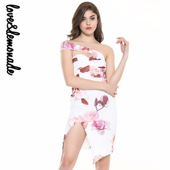 Love&Lemonade  Wipes Slits Printed Bodycon Dresses  TB 10003