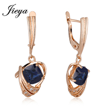 New Romanric 585 Gold Color Natural Stone Blue Long Earrings Fashion Wedding Jewelry Chandelier Hanging Earrings For Women