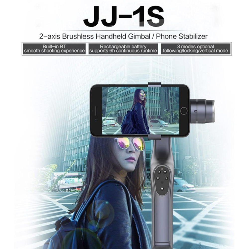 JJ-1S 2-axis Smartphone Brushless Handheld Gimbal Tray Stabilizer for GOPRO/YI/SARGO/MEEE GOU Sport Action Camera 3